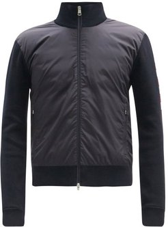 Logo-jacquard Down Quilted Jersey Track Jacket - Mens - Dark Navy