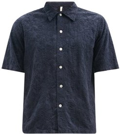 Space Floral-embroidered Cotton-poplin Shirt - Mens - Navy