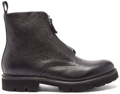 Mortimer Zipped Grained-leather Boots - Mens - Black
