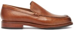 Paul Grained-leather Loafers - Mens - Tan