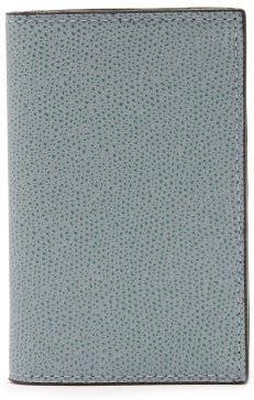Grained-leather Wallet - Mens - Light Blue