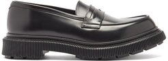 Tread-sole Leather Penny Loafers - Mens - Black