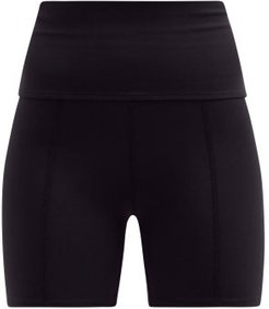 Geometric High-rise Stretch-jersey Cycling Shorts - Womens - Black
