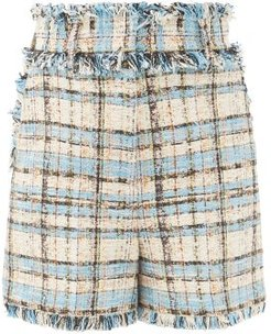 High-rise Cotton-blend Bouclé Tweed Shorts - Womens - Blue Multi