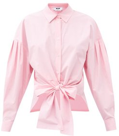 Tie-front Cotton Shirt - Womens - Pink