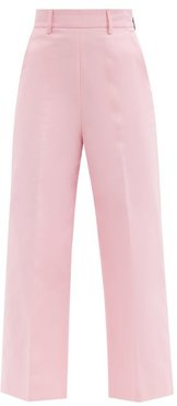 High-rise Cotton-twill Cropped-leg Trousers - Womens - Pink