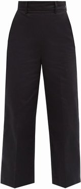 High-rise Cropped Cotton-twill Trousers - Womens - Black