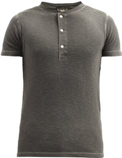 Textured Cotton Henley T-shirt - Mens - Black