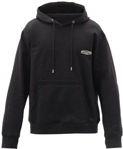 Logo-embroidered Hooded Cotton Sweatshirt - Mens - Black