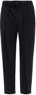 Belted Technical-pleated Trousers - Mens - Black