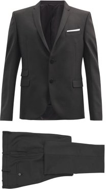 Travel Single-breasted Sharkskin Two-piece Suit - Mens - Black