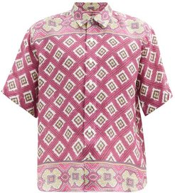 Geometric And Floral-print Linen Shirt - Mens - Pink Multi