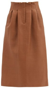 Tricia Woven-leather Midi Skirt - Womens - Brown