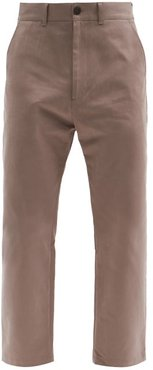 High-rise Cropped Cotton-twill Trousers - Mens - Beige