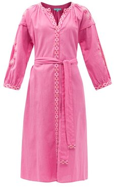 Melanie Belted Embroidered Cotton-blend Dress - Womens - Pink White