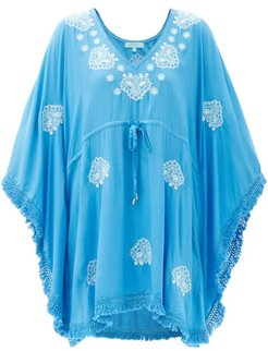 Irene Belted Embroidered Kaftan - Womens - Blue