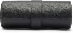 Panama Leather Watch Roll - Mens - Black
