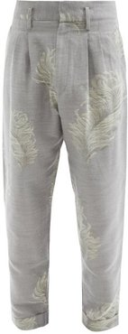 Feather-jacquard Cotton-blend Trousers - Mens - Grey