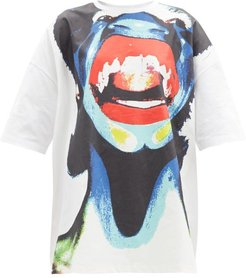 Abstract Face-print Oversized Cotton T-shirt - Womens - White Multi
