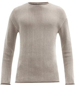 Ketch Reversible Ribbed Cotton Sweater - Mens - Beige