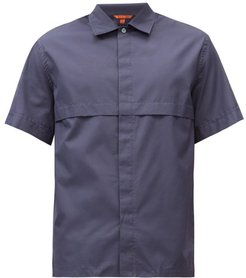 Pintuck-fold Cotton-poplin Short-sleeved Shirt - Mens - Navy