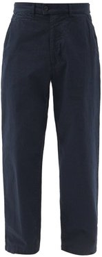 Straight-leg Cotton-ripstop Trousers - Mens - Navy