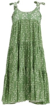 Tie-shoulder Tiered Floral-print Cotton Dress - Womens - Green White