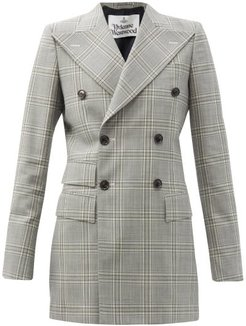 Double-breasted Prince Of Wales-check Wool Jacket - Womens - Grey