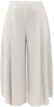 Cropped Wide-leg Technical-pleated Trousers - Womens - Grey