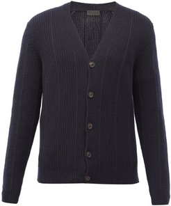 Asher Ribbed-cashmere Cardigan - Mens - Navy