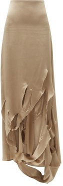 Distressed-slit Silk-charmeuse Skirt - Womens - Khaki