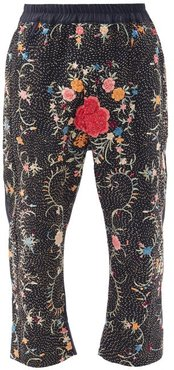 Gerald Upcycled Silk And Wool Cropped Trousers - Mens - Navy