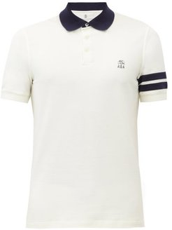 Crest-embroidered Cotton-piqué Polo Shirt - Mens - Cream