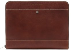 Grained-leather Document Holder - Mens - Brown
