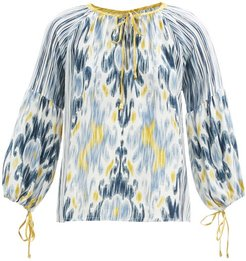 Amina Ikat-print Silk-crepe Blouse - Womens - Blue Multi