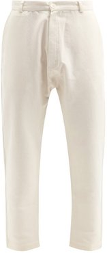 Twisted-seam Cotton-blend Trousers - Mens - Cream