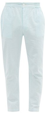 Striped Cotton-seersucker Pyjama Trousers - Mens - Light Blue