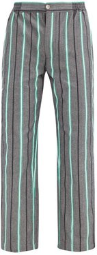Striped Cotton Pyjama Trousers - Mens - Black Multi