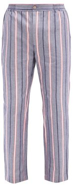 Striped Cotton Pyjama Trousers - Mens - Navy Multi