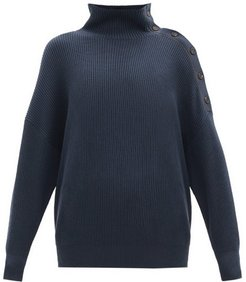 Rib-knit Cotton Roll-neck Sweater - Womens - Dark Blue