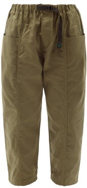 Belted Cotton-oxford Trousers - Mens - Green