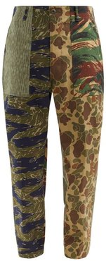 Patchwork Camouflage-print Cotton-canvas Trousers - Mens - Green Multi