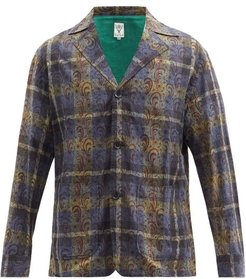 Single-breasted Paisley Plaid Cotton-canvas Jacket - Mens - Navy Multi