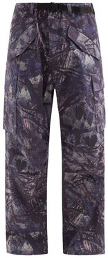 Belted Camouflage-print Cotton-canvas Trousers - Mens - Grey