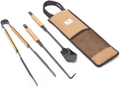 Steel-metal And Bamboo Fire Tool Set - Mens - Brown