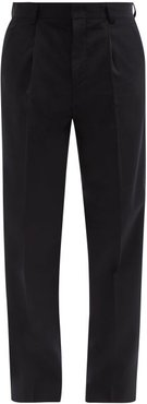 Single-pleated Wool-blend Trousers - Mens - Navy