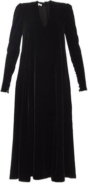 Virginia Plunge-neck Velvet Midi Dress - Womens - Black