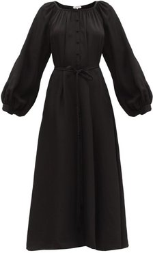 Merieme Balloon-sleeve Bamboo-twill Dress - Womens - Black