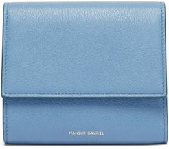 Logo-print Grained-leather Tri-fold Wallet - Womens - Blue