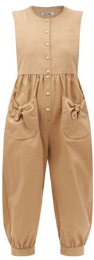 Ruffled Bow-pocket Cotton-twill Jumpsuit - Womens - Camel